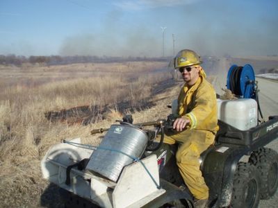 Wearing a Nomex suit for protection while performing a prairie burn