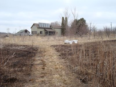 The house at Stone Prairie Farm after the burn