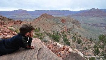 Michael Lanza's nine-year-old son, Nate, contemplates their 3,000-foot climb up the South Kaibab Trail on the last day of their 29-mile backpacking trip in the Grand Canyon.
