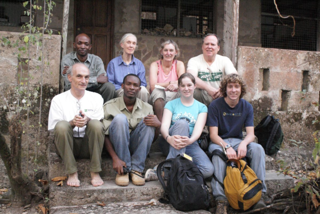 Nancy Merrick and family with Jane Goodall and other researchers in Tanzania, 2008