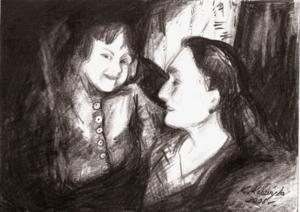 Drawing of Ania Poniemunska with her grandmother Chava Borys, by Kasia Kabzinka