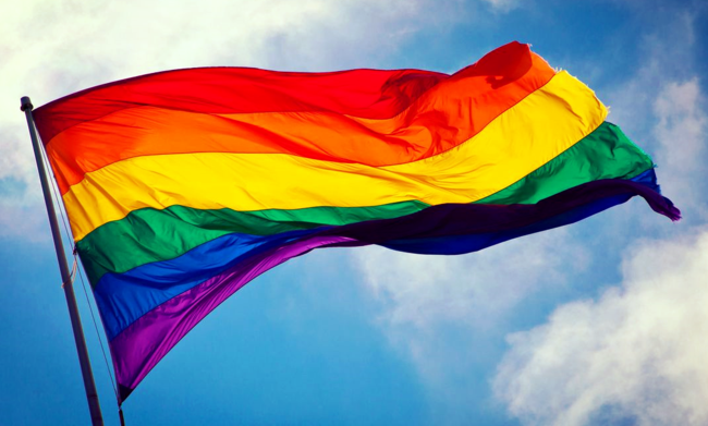 Rainbow flag photograph via Wikimedia Commons