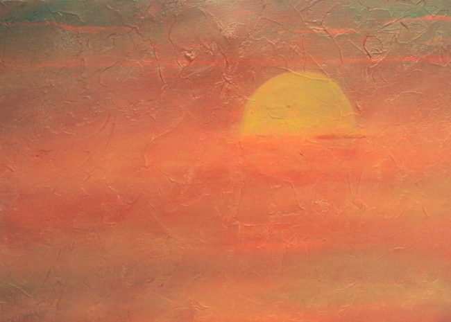 "Detail from ""Setting Sun #2,"" by Lillian B. Rubin, Acrylic 16"" x 20"""
