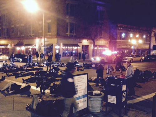 """A """"die in"""" protest near Left Bank Books in St. Louis"""