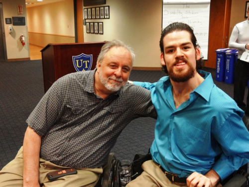 Dan Wilkins, Director of Public Relations for the Ability Center of Greater Toledo, and Nicholas Hyndman, University of Toledo student double-majoring in Disability Studies and Business Administration