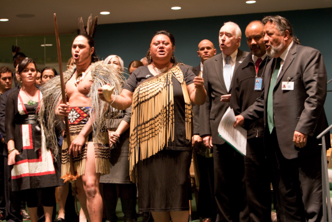 New Zealanders celebrate their country's endorsement of the United Nations Declaration on the Rights of Indigenous Peoples in 2010.