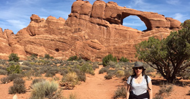 Susan Lumenello at Skyline Arch, Arches National Park, Moab, UT