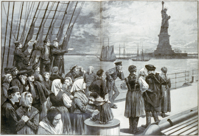 """Welcome to the land of freedom"" from Frank Leslie's Illustrated Newspaper, July 2, 1887, pp. 324-325"