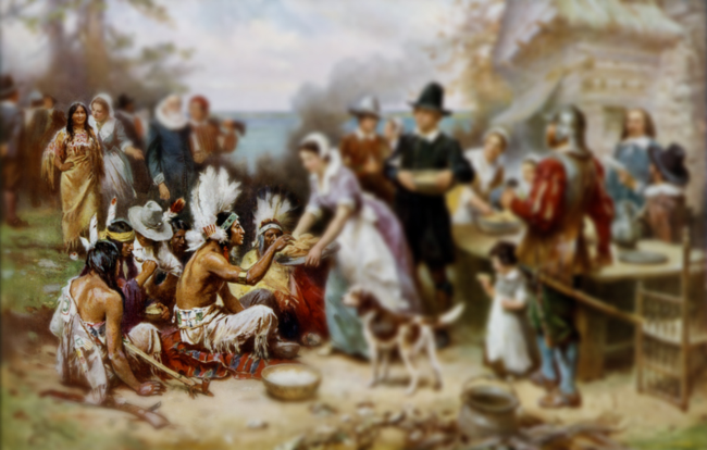 The First Thanksgiving 1621, oil on canvas by Jean Leon Gerome Ferris (1899) (Image altered)