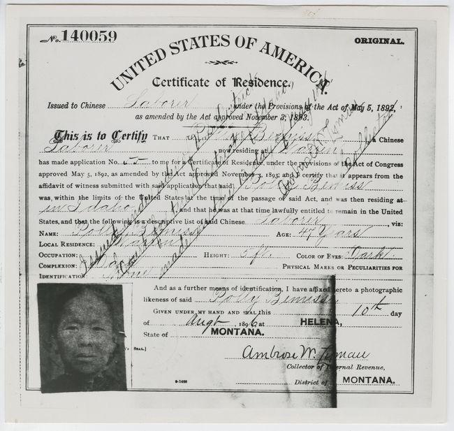Bemis Certificate of Residence