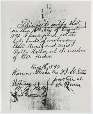 Bemis Marriage Certificate