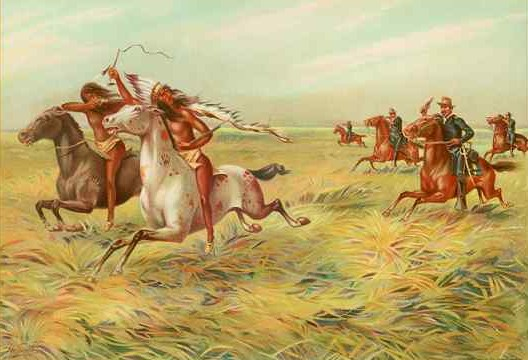 An 1899 chromolithograph of U.S. cavalry pursuing American Indians, artist unknown, Werner Company, Akron, Ohio