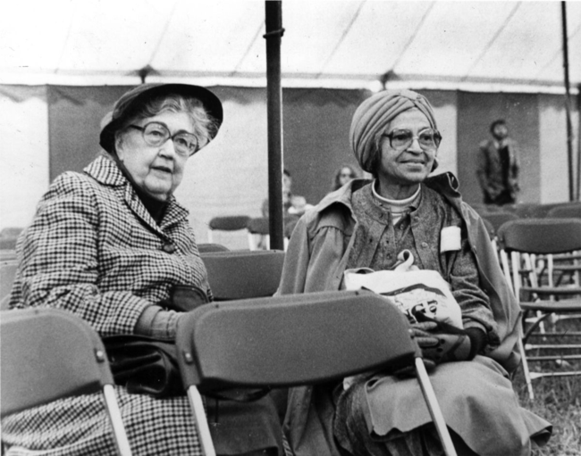 Montgomery comrades Rosa Parks and Virginia Durr come together in South Hadley, Massachusetts, 1981.