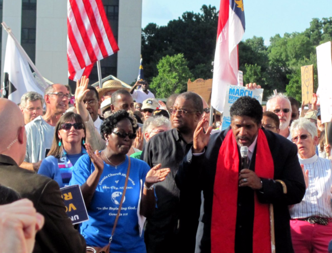 Rev. Dr. William J. Barber speaking at a Moral Monday rally