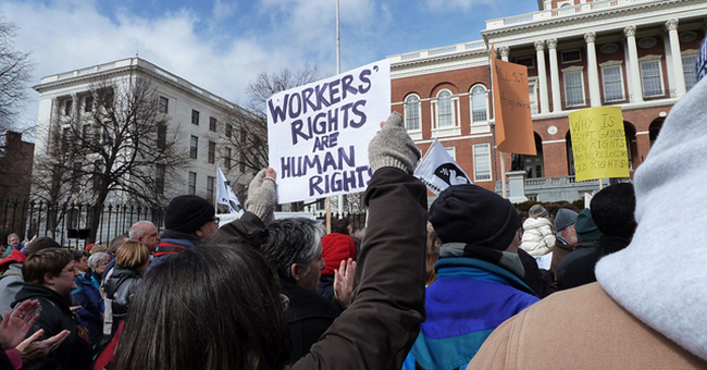 Labor protest on Beacon Hill, Boston, Massachusetts