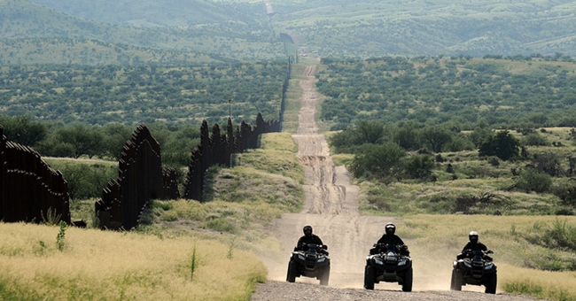 Border Patrol agents patrol the U.S. border with Mexico seen near Nogales, Arizona.