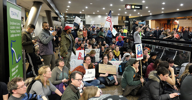SeaTac Airport protest against immigration ban