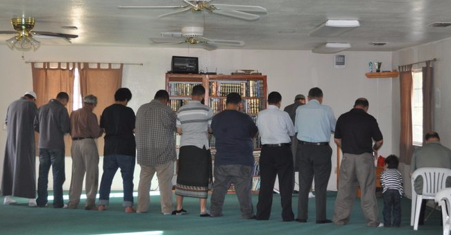 Muslims in prayer at Modesto mosque