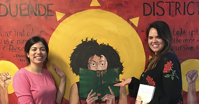 Duende District Bookstore. Angela Maria Spring (right) with Daisy Hernández (left)