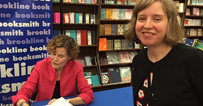 Marcy Barnes at a Judy Blume book signing at Brookline Booksmith