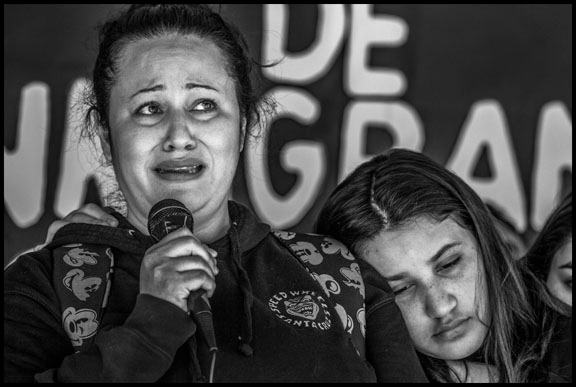 Lourdes Barraza speaks out in front of the detention center