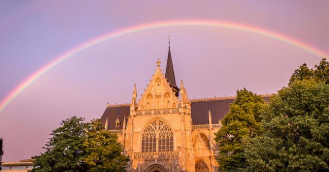 Rainbow over the church