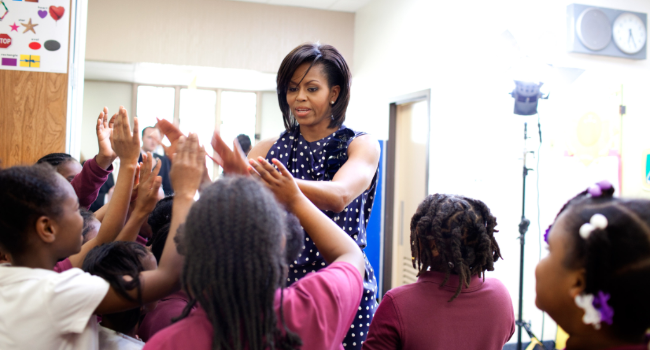 First Lady Michelle Obama greets third graders at the Ferebee Hope Elementary School in Washington DC