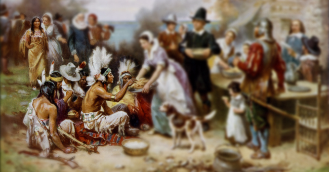 Jean Leon Gerome Ferris's, The First Thanksgiving, 1621 (image altered)