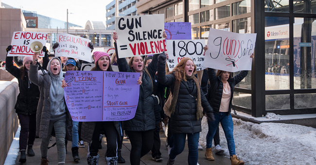 High school students protest for gun law reform, Minneapolis, MN, February 21, 2018