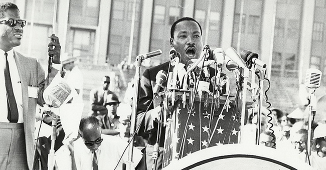 Martin Luther King, Jr. speaking in Chicago, Ted Bell Collection