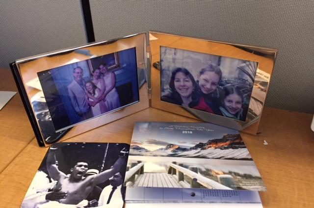 Non-office items on Tom Hallock's desk