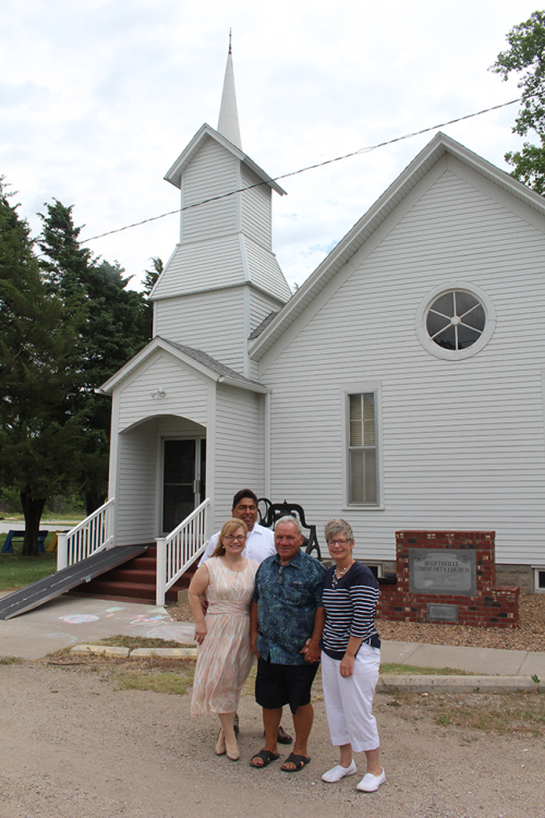 Wayne and Cathy Warkentin, on right, with their daughter and son-in-law Crystal and Al Paredes. Al is a pastor at Scottsville Community Church