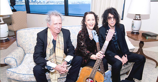 Helene Atwan with Keith Richards and Peter Wolf