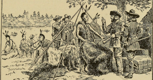 French trading with Native Americans in Quebec