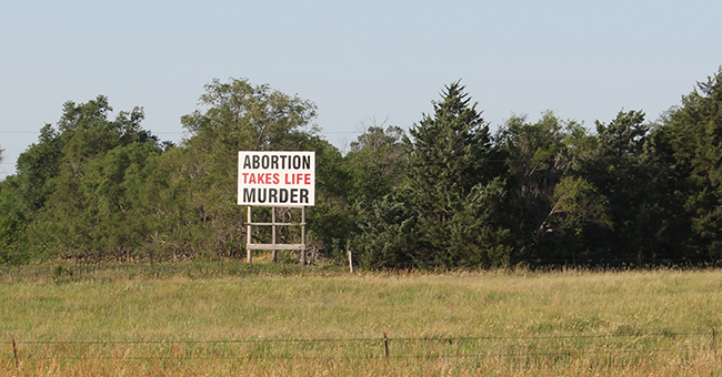 Billboard along State Highway 24, near the Cloud County town of Miltonvale.