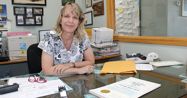 State Senator Elaine Bowers in her office at the family-owned Concordia Auto Mart.
