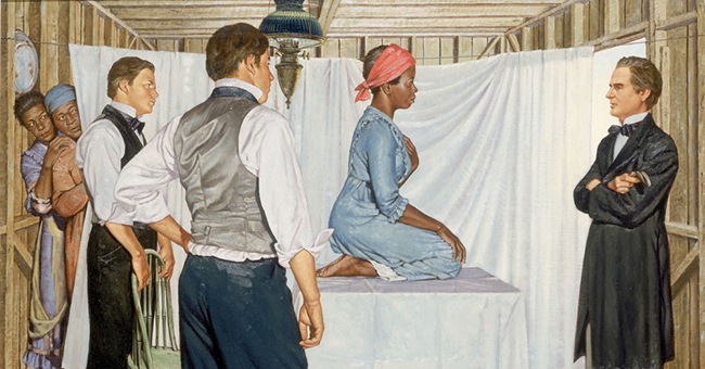 "Illustration of Dr. J. Marion Sims with ""Anarcha,"" from the series ""A History of Medicine in Pictures,"" by Robert Thom, 1961. Courtesy of the Pearson Museum, with permission from the Southern Illinois University School of Medicine."