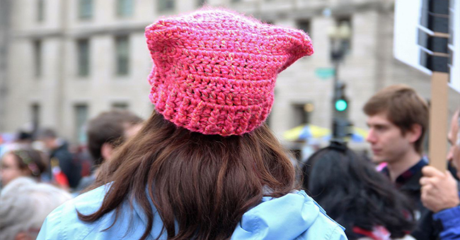 Woman with pussyhat at the Women's March 2018