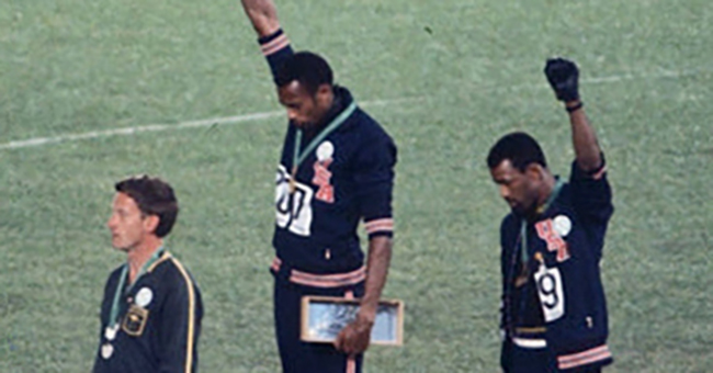 John Carlos, Tommie Smith, and Peter Norman at the 1968 Summer Olympics in Mexico City.