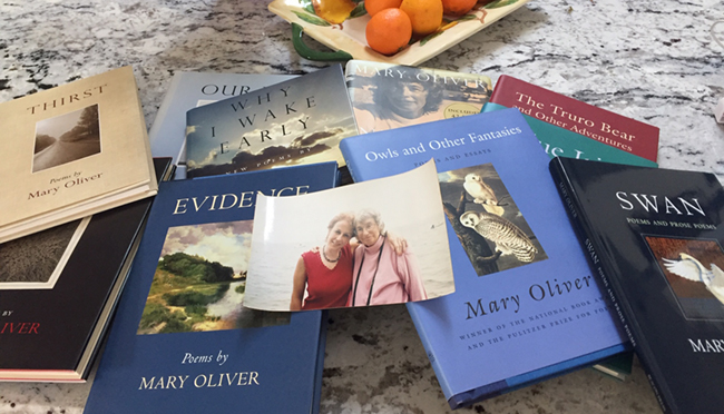 Picture of Helene and Mary surrounded by books