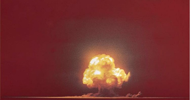 Color photo of Trinity test explosion