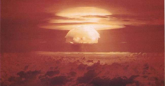 Castle Bravo mushroom cloud, the first in a series of high-yield thermonuclear weapon design tests conducted by the United States at Bikini Atoll, Marshall Islands, March 1, 1954.