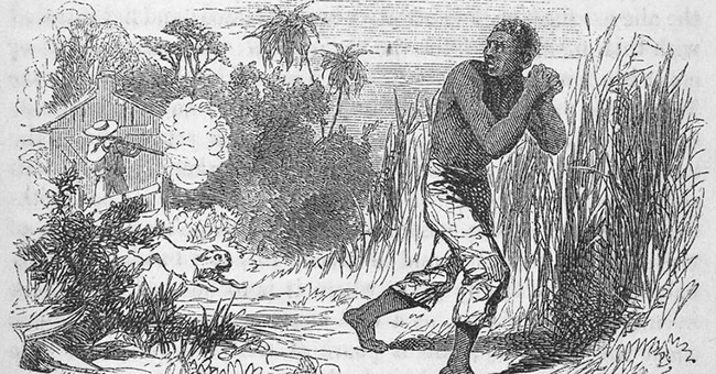 """Slave-owner shooting a fugitive slave (1853). New York Public Library, """"Five hundred thousand strokes for freedom; a series of anti-slavery tracts, of which half a million are now first issued by the friends of the Negro."""" by Armistead, Wilson, 1819?-1868 and """"Picture of slavery in the United States of America"""" by Bourne, George, 1780-1845."""