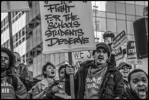 Teachers with the basic demand of the strike—funding public schools.