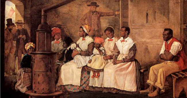 "Eyre Crowes's oil painting ""Slaves Waiting for Sale – Richmond, Virginia,"" 1861."