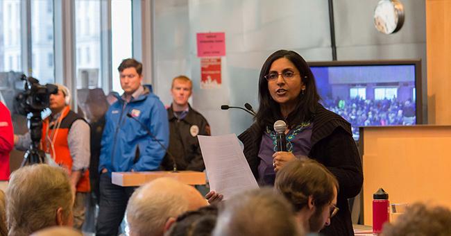 Kshama Sawant speaking at the Affordable Housing Town Hall  April 2015