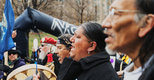Nathan Phillips at the 2017 Indigenous Peoples March