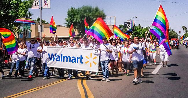 Walmart at Fresno Rainbow Pride Parade and Festival, June 2015.
