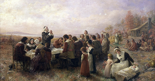 "Jennie A. Brownscombe's ""The First Thanksgiving at Plymouth,"" (1914)."