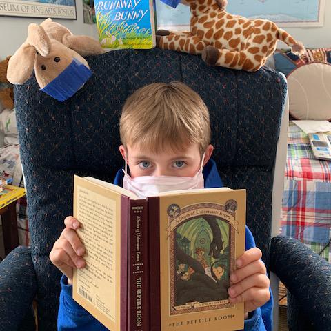 Gayatri Patnaik's son Matthew reading The Reptile Room